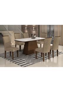 Conjunto De Mesa Lunara I 180 Cm Com 6 Cadeiras Suede Amassado Castor E Chocolate