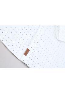 Camisa Infantil Estampada De Poá Com Bordado Manga Longa Off White