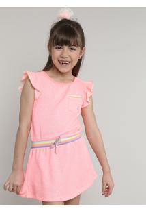 Vestido Infantil Com Bolso E Cordão Manga Curta Rosa Neon