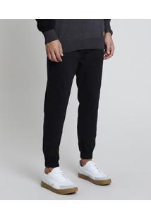 Calça Masculina Jogger Slim Com Cordão Preta