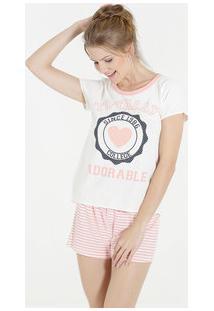 Pijama Feminino Short Doll Estampa Coração Marisa