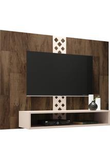 Painel Para Tv Até 47 Decorativo Quarto Sala De Estar Yoran Deck/Off White - Gran Belo