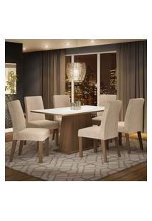Conjunto Sala De Jantar Madesa Luciana Mesa Tampo De Madeira Com 6 Cadeiras Rustic/Branco/Imperial Rustic