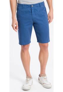 Bermuda Color Bolso Faca C/ Cadarço - Azul Médio - 38