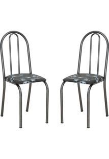Conjunto 2 Cadeiras Éos Preto Flor