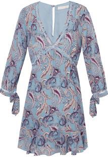 Vestido Seda Paisley Bobstore - Azul