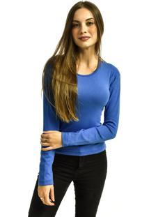 Camiseta Nakia Manga Longa Básica Feminina Lisa Malha Azul Royal