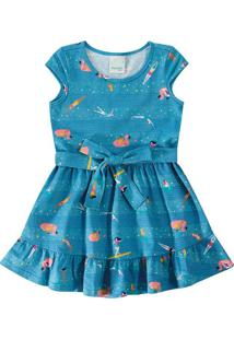 Vestido Peplum Amarração Menina Malwee Kids