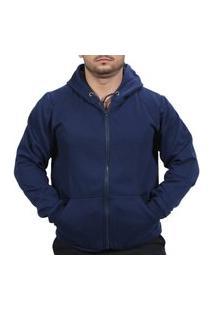 Blusa De Frio Moletom Com Ziper Masculino Liso Azul Escuro