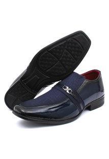 Sapato Social Verniz Renovally Azul Marinho