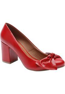 e6457f088 Sapato Tradicional Em Couro Com Laço Frontal - Vermelho Le Rossi