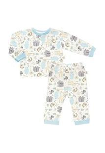 Pijama Longo Estampado Em Suedine - Anjos Baby Azul/Marrom