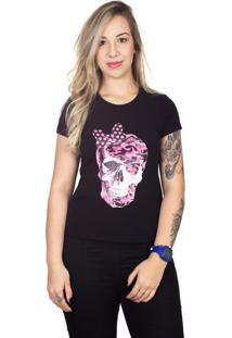 Camiseta 4 ÁS Preta Manga Curta Caveira Rosa - Preto - Feminino - Dafiti