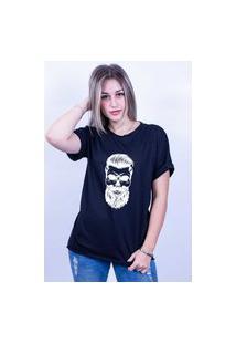 Camiseta Bilhan Corte A Fio Caveira B Preta