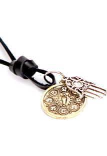 Colar Lovelee Acessórios De Hansá E Medalha Envelhecida Preto - Tricae