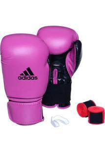 Kit Luva Adidas Power 100 Colors + Bandagem + Bucal Simples - Unissex