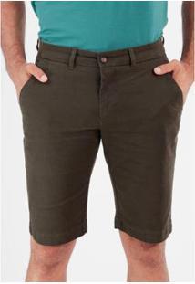 Bermuda Sarja Chino Slim Com Elastano Masculina - Masculino-Verde Militar