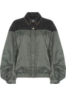 Sjyp Jaqueta Bomber Com Recorte Jeans - Verde
