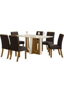 Sala De Jantar Mesa Alfa 160Cm 6 Cadeiras Vega Nature/Off White/Marrom