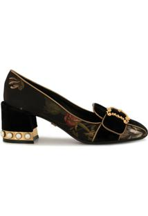 Dolce & Gabbana Sapato Jackie Floral - Preto