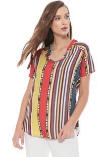 Camiseta Triton Listras Vermelha/Amarela