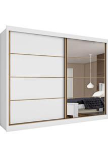 Guarda-Roupa Casal Sevilha Espelhado 2 Portas E 6 Gavetas – Made Marcs - Branco Acetinado