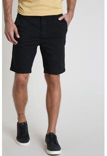 Bermuda De Sarja Masculina Slim Com Bolsos Preta