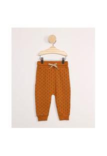 Calça Infantil Básica Em Moletom Estampada Mini Print Triângulos Caramelo