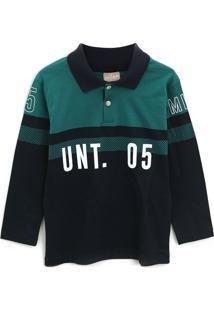 Camisa Milon Infantil Unt. 05 Azul-Marinho/Verde