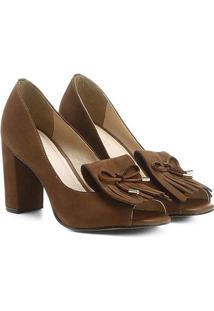 Peep Toe Couro Shoestock Franjas - Feminino-Caramelo