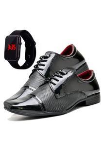 Sapato Social Asgard Com Relógio Led Db 707Lbm Preto