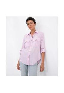Camisa Manga Longa Lisa Com Botões Tartaruga E Bolsos | Marfinno | Rosa | Gg