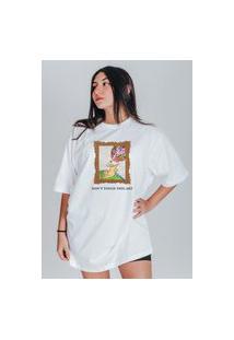 Camiseta Feminina Oversized Boutique Judith Don'T Touch This Art Branco