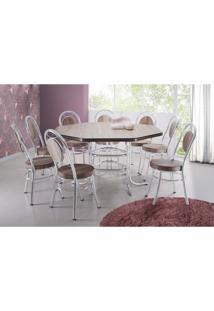 Conjunto De Mesa De Jantar 8 Cadeiras Mirella Madeira Marrom