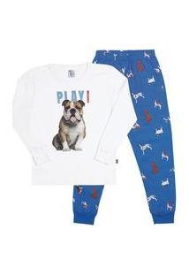 Pijama Meia Malha - 46570-3 - (1 A 3 Anos) Pijama Branco - Primeiros Passos Menino Meia Malha Ref:46570-3-1