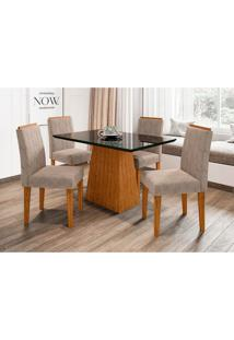 Conjunto De Mesa De Jantar Com Tampo De Vidro Jasmin E 4 Cadeiras Ana Ii Animalle Nero E Cinza