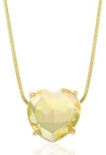 Colar Toque De Joia Coração Pedra Natural Quartzo Green Gold Ouro Amarelo