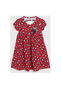 Vestido Kyly Infantil Onça Vermelho