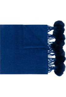 N.Peal Cachecol Com Pompons - Azul