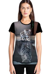Camiseta Feminina Ramavi Refletido Manga Curta