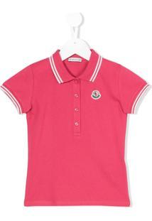 Moncler Kids Camisa Polo Com Listras Na Gola - Rosa
