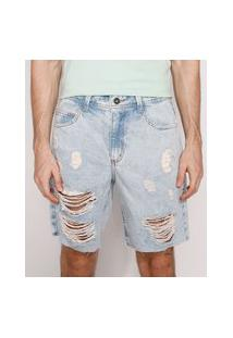Bermuda Jeans Masculina Destroyed Reta Marmorizada Azul Claro
