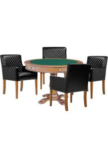 Mesa De Jogos Carteado Victoria Redonda Tampo Reversível Amêndoa Com Kit 4 Cadeiras Liverpool Corino Preto Matelassê - Gran Belo