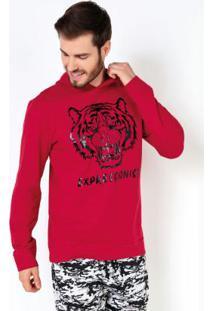 Casaco Estampa Tigre Com Capuz Vermelho