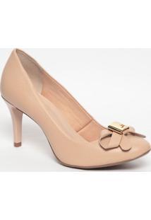 Sapato Em Couro Com Laço- Bege- Salto: 7,5Cmjorge Bischoff