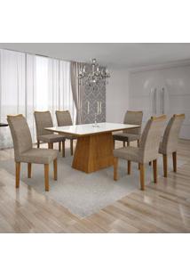 Conjunto Sala De Jantar Mesa Tampo Mdf/Vidro Branco E 6 Cadeiras Pampulha Leifer Imbuia Mel/Suede