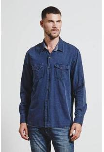 Camisa Texture Ocean Navy Masculina - Masculino-Azul