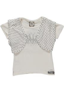 Camiseta Manga Curta Infantil Imports Baby Feminina - Feminino-Branco