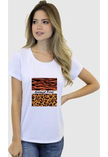 Camiseta Suffix Branca Gola Redonda Estampa Animal Print