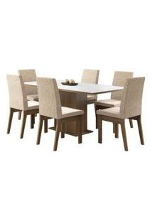Conjunto Sala De Jantar Madesa Cecília Mesa Tampo De Madeira Com 6 Cadeiras Rustic/Branco/Fendi Rustic